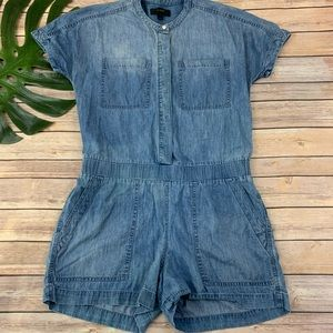 J.Crew blue short sleeve drapey chambray romper